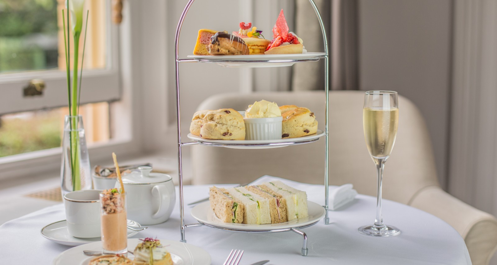 Summer Afternoon Tea served in the Garden Room