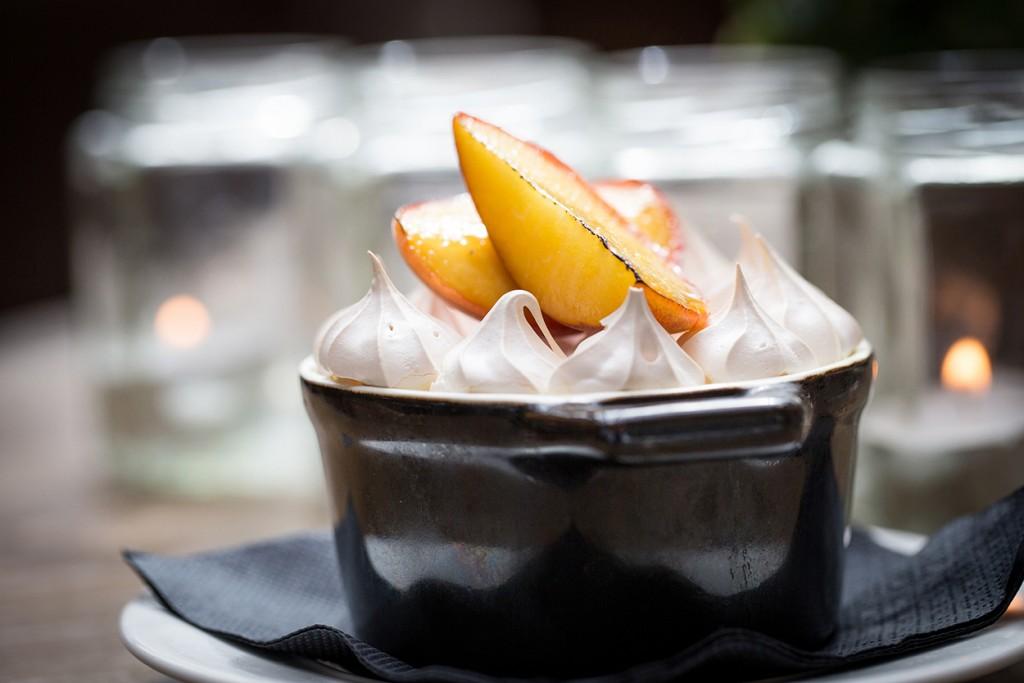 Roast peach queen of puddings